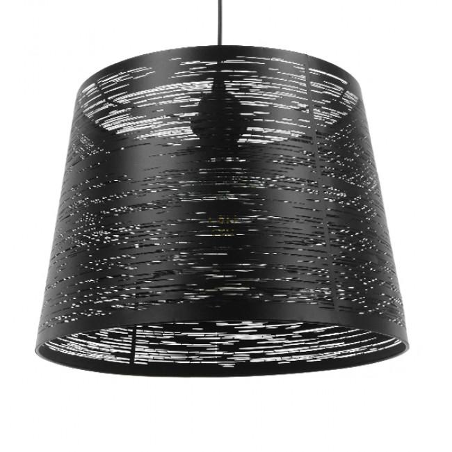 Μοντέρνο Industrial Κρεμαστό Φωτιστικό Οροφής Μονόφωτο Μεταλλικό Μαύρο Καμπάνα Φ35 GloboStar ATLANTIS 01556 - 1