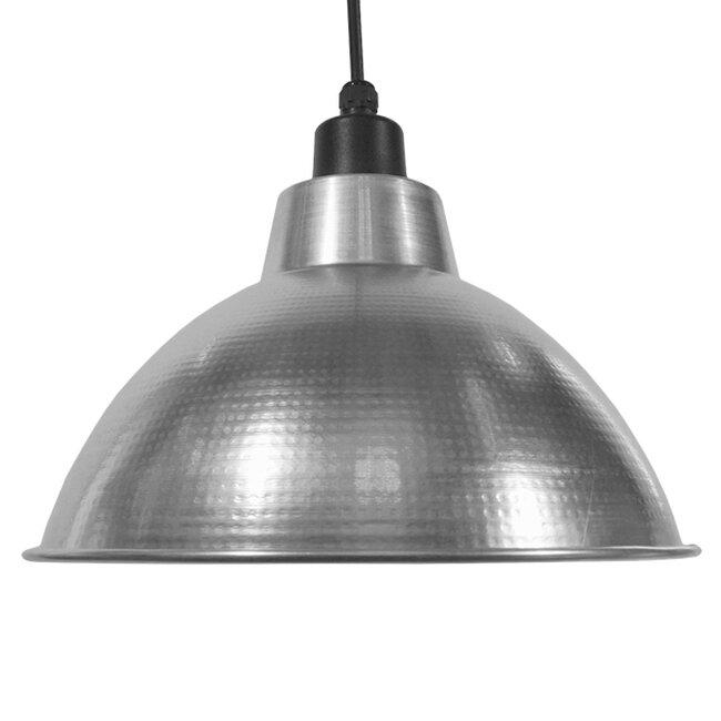 Vintage Industrial Κρεμαστό Φωτιστικό Οροφής Μονόφωτο Ασημί Μεταλλικό Καμπάνα Φ39  LOUVE SILVER 01178 - 5