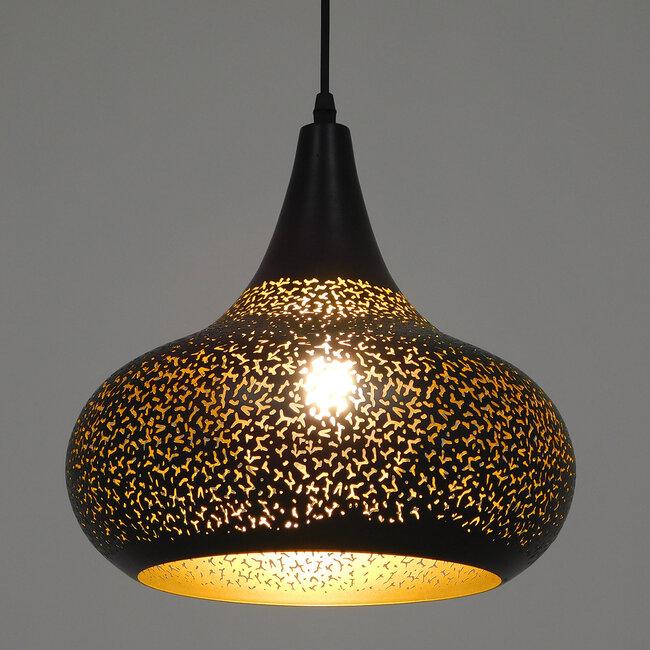 Μοντέρνο Κρεμαστό Φωτιστικό Οροφής Μονόφωτο Μαύρο με Χρυσό Μεταλλικό Καμπάνα Φ30  JANIS 01590 - 3