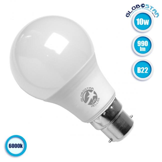 Γλόμπος LED A60 με βάση B22 10 Watt 230v Ψυχρό GloboStar 01682 - 1
