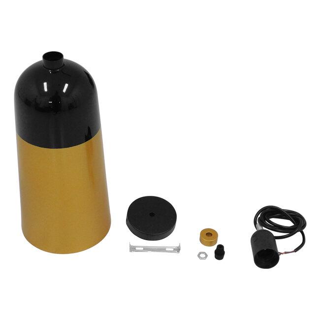 Μοντέρνο Κρεμαστό Φωτιστικό Οροφής Μονόφωτο Μαύρο - Χρυσό Μεταλλικό Καμπάνα Φ14  PALAZZO GOLD BLACK 01523 - 10