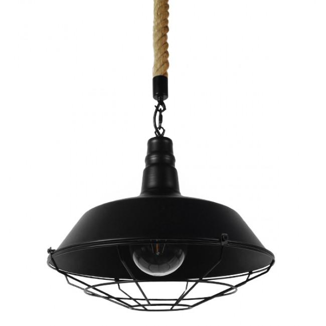 Vintage Industrial Κρεμαστό Φωτιστικό Οροφής Μονόφωτο Μαύρο Μεταλλικό Καμπάνα Πλέγμα με Μπεζ Σχοινί Φ36 GloboStar CRANE 01109 - 1