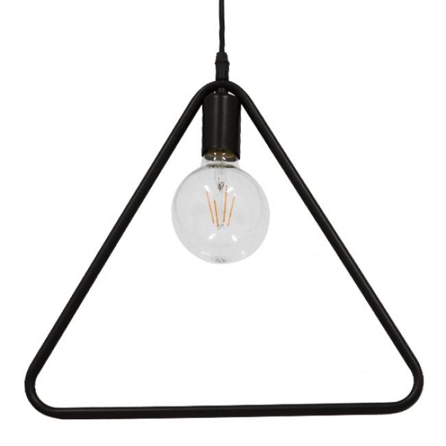 Μοντέρνο Κρεμαστό Φωτιστικό Οροφής Μονόφωτο Μαύρο Μεταλλικό GloboStar DELTA BLACK 01580 - 3