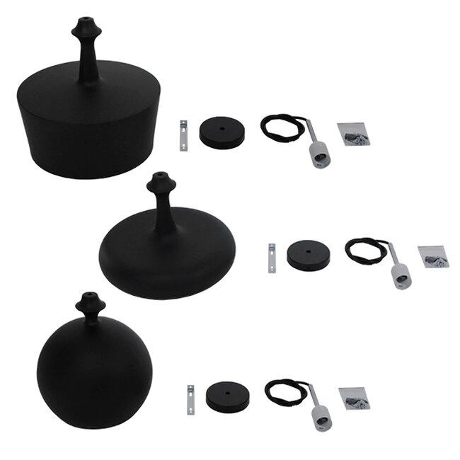 SET 3 Μοντέρνα Κρεμαστά Φωτιστικά Οροφής Μονόφωτα Μαύρα Μεταλλικά Καμπάνα  ROCKFORD 01287 - 6