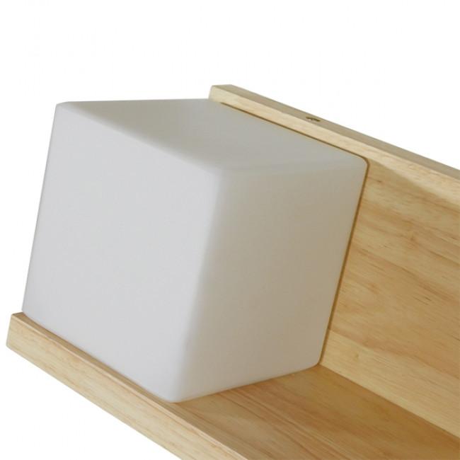 Μοντέρνο Φωτιστικό Τοίχου Απλίκα Ραφάκι Μονόφωτο Ξύλινο με Λευκό Ματ Γυαλί GloboStar AMITY LEFT 01365 - 7