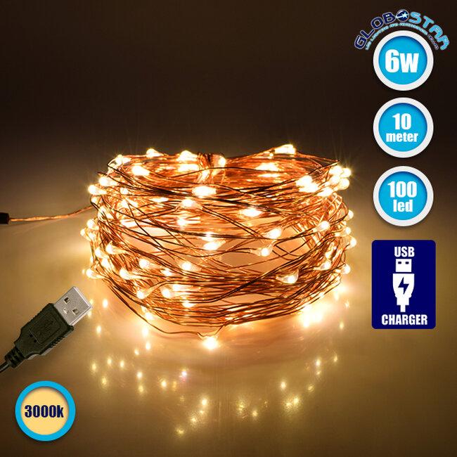 GloboStar® 79722 Διακοσμητική Γιρλάντα 10 Μέτρων 100 LED USB 5 Volt 6 Watt με Χάλκινο Συρμάτινο Καλώδιο Θερμό Λευκό 3000k - 1
