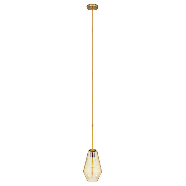 GloboStar® AMARIS 00871 Μοντέρνο Κρεμαστό Φωτιστικό Οροφής Μονόφωτο Γυάλινο Φιμέ Μελί Φ17 x 30CM - 3