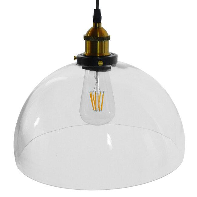 Vintage Κρεμαστό Φωτιστικό Οροφής Μονόφωτο Γυάλινο Καμπάνα Φ30 GloboStar DARCY 01171 - 4
