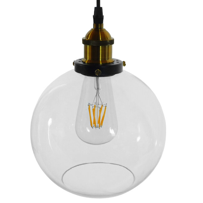 Vintage Κρεμαστό Φωτιστικό Οροφής Μονόφωτο Γυάλινο Καμπάνα Φ18  COLLINS 01170 - 4