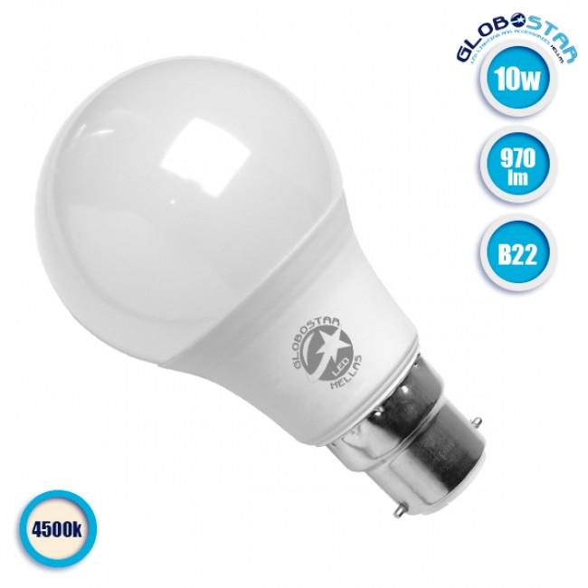 Γλόμπος LED A60 με βάση B22 10 Watt 230v Φυσικό Λευκό GloboStar 01683 - 1