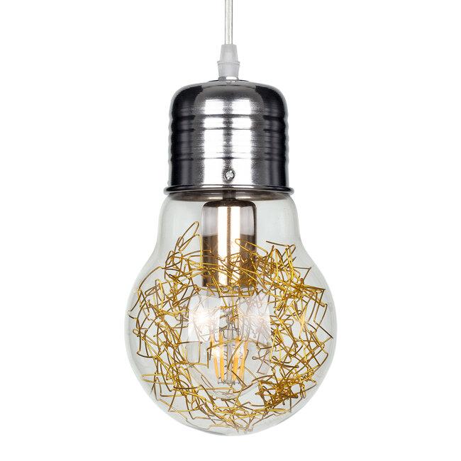 LAMP 00807 Μοντέρνο Κρεμαστό Φωτιστικό Οροφής Μονόφωτο Ασημί Νίκελ Βάση και Χρυσό Ντουί Μεταλλικό Διάφανο Γυαλί Φ15 x Υ27cm - 2