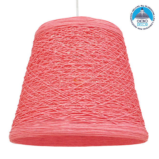 Vintage Κρεμαστό Φωτιστικό Οροφής Μονόφωτο Ροζ Ξύλινο Ψάθινο Rattan Φ32  ARGENT PINK 00996 - 1