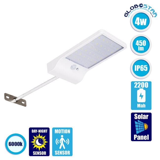 71467 Αυτόνομο Ηλιακό Φωτιστικό Τοίχου Λευκό LED SMD 4W 550lm με Ενσωματωμένη Μπαταρία 2200mAh - Φωτοβολταϊκό Πάνελ - Βάση Στήριξης - Αισθητήρα Ημέρας-Νύχτας PIR Αισθητήρα Κίνησης Αδιάβροχο IP65 Ψυχρό Λευκό 6000K - 1
