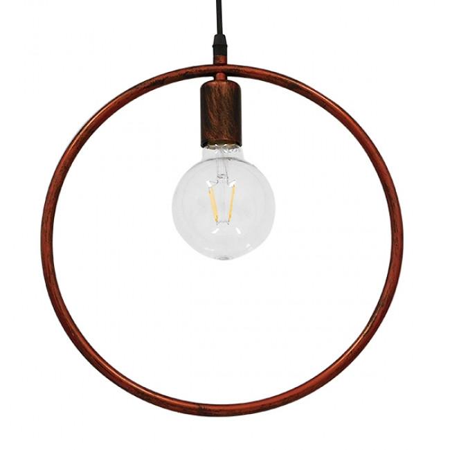 Μοντέρνο Κρεμαστό Φωτιστικό Οροφής Μονόφωτο Καφέ Σκουριά Μεταλλικό Φ33 GloboStar OMICRON IRON RUST 01579