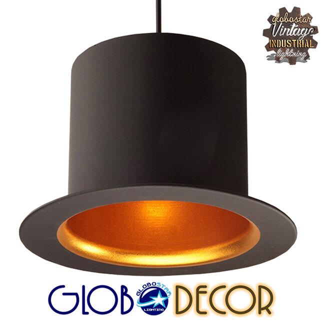 Vintage Κρεμαστό Φωτιστικό Οροφής Μονόφωτο Μαύρο Μεταλλικό Καμπάνα Φ26 GloboStar SHERLOCK 01215 - 7