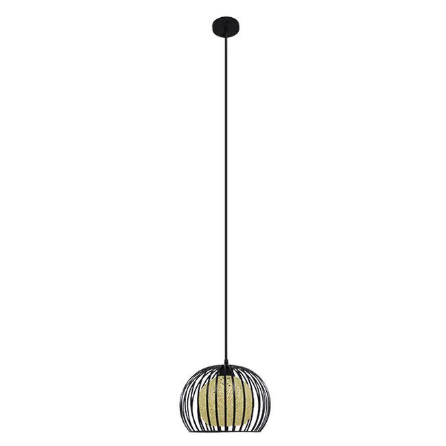 Μοντέρνο Industrial Κρεμαστό Φωτιστικό Οροφής Μονόφωτο Μαύρο με Εκρού Μεταλλικό Πλέγμα Φ28  CARTER Φ28 00960 - 3