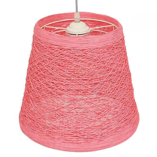 Vintage Κρεμαστό Φωτιστικό Οροφής Μονόφωτο Ροζ Ξύλινο Ψάθινο Rattan Φ32  ARGENT PINK 00996 - 4