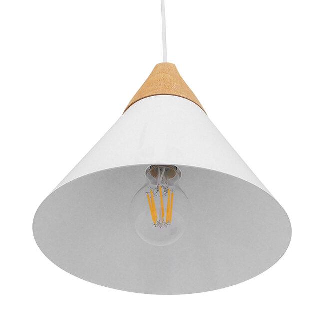 Μοντέρνο Κρεμαστό Φωτιστικό Οροφής Μονόφωτο Λευκό Μεταλλικό με Ξύλο Καμπάνα Φ23  SHADE WHITE 00907 - 5