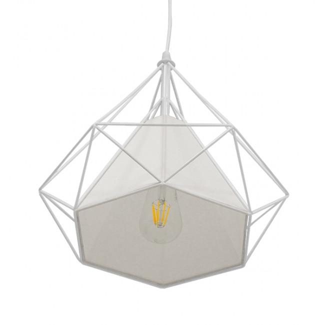Μοντέρνο Industrial Κρεμαστό Φωτιστικό Οροφής Μονόφωτο Λευκό με Ύφασμα Μεταλλικό Πλέγμα Φ38 GloboStar KAIRI WHITE 01619 - 4
