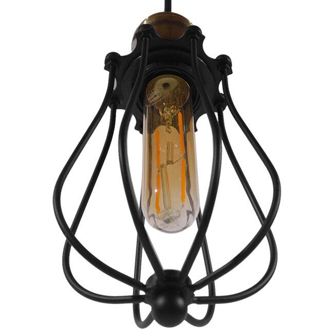 Vintage Industrial Κρεμαστό Φωτιστικό Οροφής Μονόφωτο Μαύρο Μεταλλικό Πλέγμα Φ11  DELTA 01016 - 4