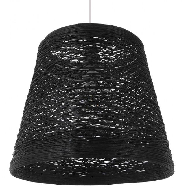 Vintage Κρεμαστό Φωτιστικό Οροφής Μονόφωτο Μαύρο Ξύλινο Ψάθινο Rattan Φ32 GloboStar ALMA 01563