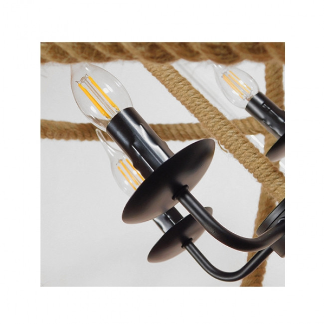 Vintage Κρεμαστό Φωτιστικό Οροφής Πολύφωτο Μαύρο Μεταλλικό Πολυέλαιος με Μπεζ Σχοινί Φ53 GloboStar VITRUVIAN 01141 - 6