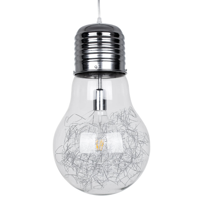 LAMP 01677 Μοντέρνο Κρεμαστό Φωτιστικό Οροφής Μονόφωτο Ασημί Νίκελ Μεταλλικό Διάφανο Γυαλί Φ30 x Υ52cm - 2