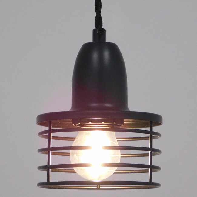 Μοντέρνο Industrial Κρεμαστό Φωτιστικό Οροφής Μονόφωτο Μεταλλικό Μαύρο Καμπάνα Φ11  MANHATTAN BLACK 01456 - 3