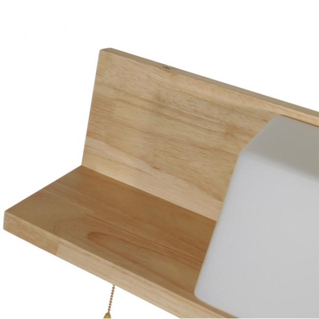 Μοντέρνο Φωτιστικό Τοίχου Απλίκα Ραφάκι Μονόφωτο Ξύλινο με Λευκό Ματ Γυαλί GloboStar AMITY RIGHT 01366 - 6