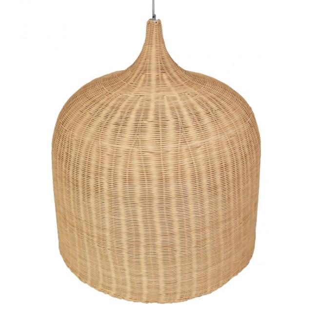 Vintage Κρεμαστό Φωτιστικό Οροφής Μονόφωτο Μπεζ Ξύλινο Ψάθινο Rattan Φ90 GloboStar IVORY 01570 - 4