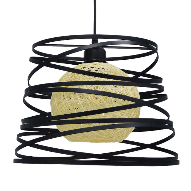 Μοντέρνο Industrial Κρεμαστό Φωτιστικό Οροφής Μονόφωτο Μαύρο με Εκρού Μεταλλικό Πλέγμα Φ32  CARTER Φ32 00961 - 4