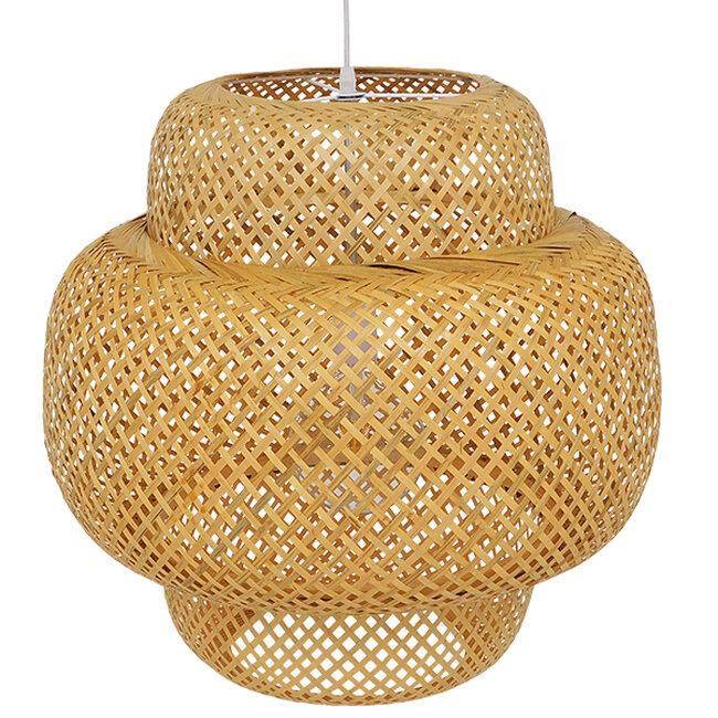 Vintage Κρεμαστό Φωτιστικό Οροφής Μονόφωτο Καφέ Ξύλινο Bamboo Φ56  MALVIDES LIGHT BROWN 01657 - 5
