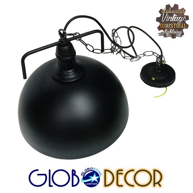 Vintage Κρεμαστό Φωτιστικό Οροφής Μονόφωτο Μαύρο Μεταλλικό Καμπάνα Φ31  LARKIN BLACK 01175 - 3