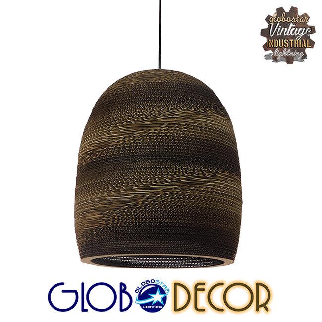 Vintage Κρεμαστό Φωτιστικό Οροφής Μονόφωτο 3D από Επεξεργασμένο Σκληρό Καφέ Χαρτόνι Καμπάνα Φ35  SKIATHOS 01296 - 1