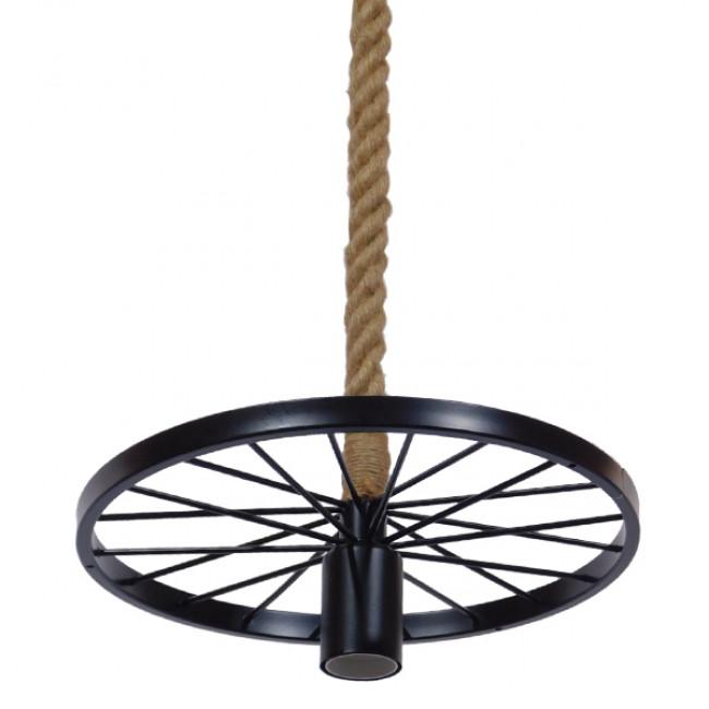 Vintage Industrial Κρεμαστό Φωτιστικό Οροφής Μονόφωτο Μαύρο Μεταλλικό Πλέγμα με Μπεζ Σχοινί Φ30  VELO 01185 - 6