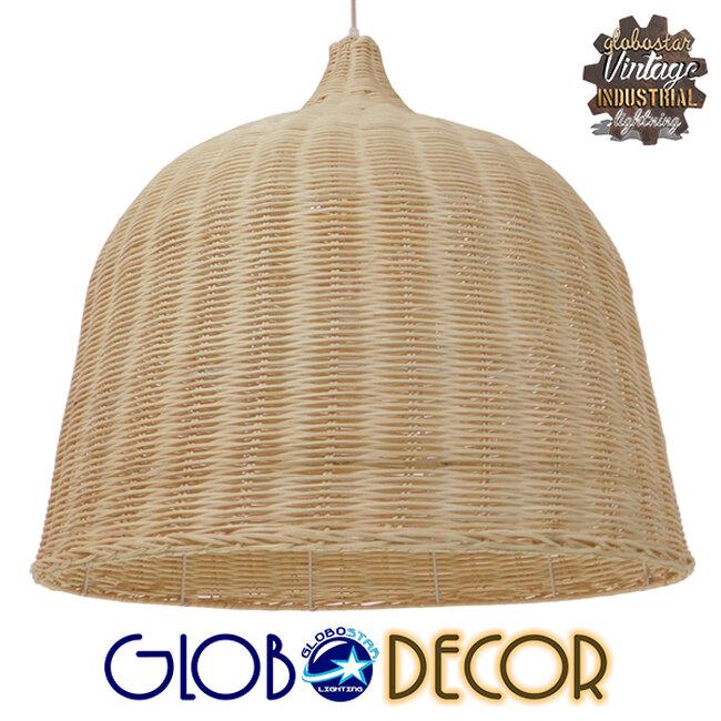 Vintage Κρεμαστό Φωτιστικό Οροφής Μονόφωτο Μπεζ Ξύλινο Ψάθινο Rattan Φ60  ROOSEVELT 01370 - 1