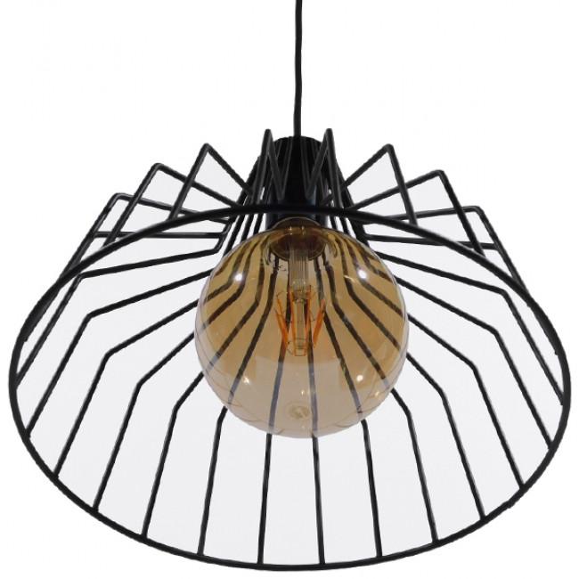 Vintage Industrial Κρεμαστό Φωτιστικό Οροφής Μονόφωτο Μαύρο Μεταλλικό Πλέγμα Καμπάνα Φ30 GloboStar TERE 01165 - 6
