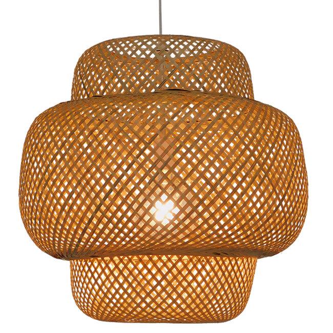 Vintage Κρεμαστό Φωτιστικό Οροφής Μονόφωτο Καφέ Ξύλινο Bamboo Φ56  MALVIDES LIGHT BROWN 01657 - 2