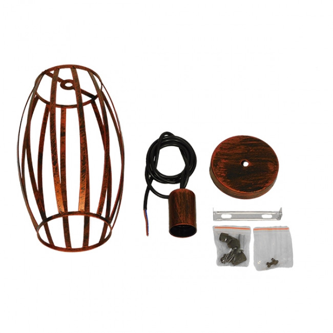 Vintage Industrial Κρεμαστό Φωτιστικό Οροφής Μονόφωτο Καφέ Σκουριά Μεταλλικό Πλέγμα Φ14  ZEBRA IRON RUST 01639 - 8
