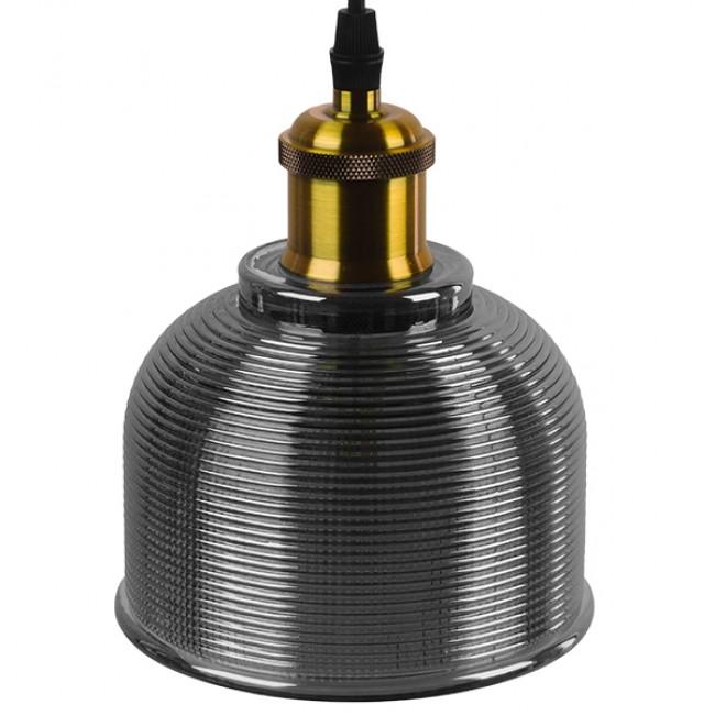 Vintage Κρεμαστό Φωτιστικό Οροφής Μονόφωτο Μαύρο Γυάλινο Διάφανο Καμπάνα με Χρυσό Ντουί Φ14 GloboStar SEGRETO BLACK 01449 - 4