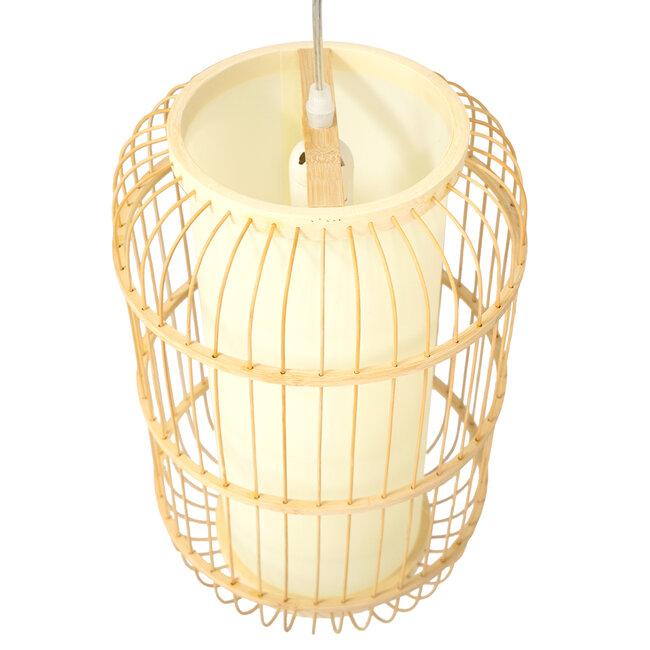 DE PARIS 00893 Vintage Κρεμαστό Φωτιστικό Οροφής Μονόφωτο Μπεζ Ξύλινο Bamboo Φ25 x Υ42cm - 6
