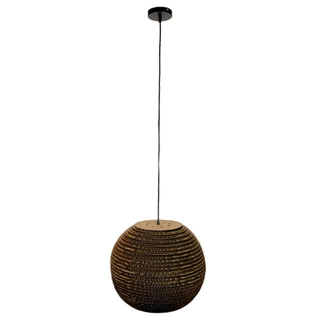 Vintage Κρεμαστό Φωτιστικό Οροφής Μονόφωτο 3D από Επεξεργασμένο Σκληρό Καφέ Χαρτόνι Καμπάνα Φ40 GloboStar CRETE 01289 - 2
