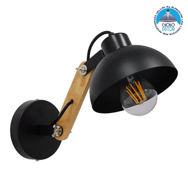 Μοντέρνο Φωτιστικό Τοίχου Απλίκα Μονόφωτο Μαύρο με Ξύλινο Βραχίονα Μεταλλικό Φ15 GloboStar GRANT BLACK 00902 - 1