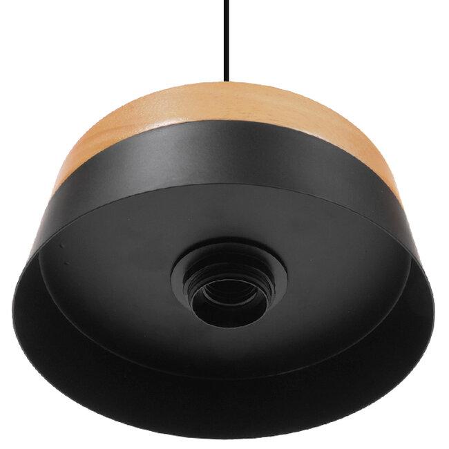 Μοντέρνο Κρεμαστό Φωτιστικό Οροφής Μονόφωτο Μαύρο Μεταλλικό με Φυσικό Ξύλο Καμπάνα Φ18  RUHIEL 01233 - 6