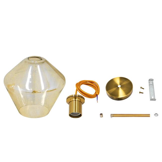 GloboStar® AMARIS 00869 Μοντέρνο Κρεμαστό Φωτιστικό Οροφής Μονόφωτο Γυάλινο Φιμέ Μελί Φ22 x 22CM - 7
