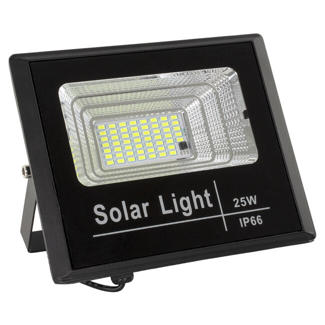 71554 Αυτόνομος Ηλιακός Προβολέας LED SMD 25W 2000lm με Ενσωματωμένη Μπαταρία 3000mAh - Φωτοβολταϊκό Πάνελ με Αισθητήρα Ημέρας-Νύχτας και Ασύρματο Χειριστήριο RF 2.4Ghz Αδιάβροχος IP66 Ψυχρό Λευκό 6000K - 3