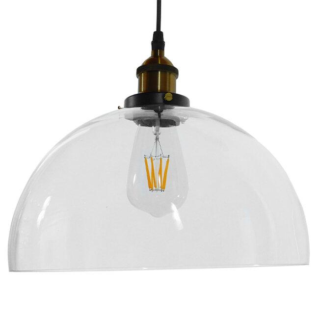 Vintage Κρεμαστό Φωτιστικό Οροφής Μονόφωτο Γυάλινο Καμπάνα Φ30 GloboStar DARCY 01171 - 3
