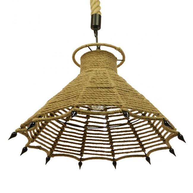 Vintage Κρεμαστό Φωτιστικό Οροφής Μονόφωτο Μπεζ Καμπάνα με Σχοινί Φ41  OZERO 01603 - 4