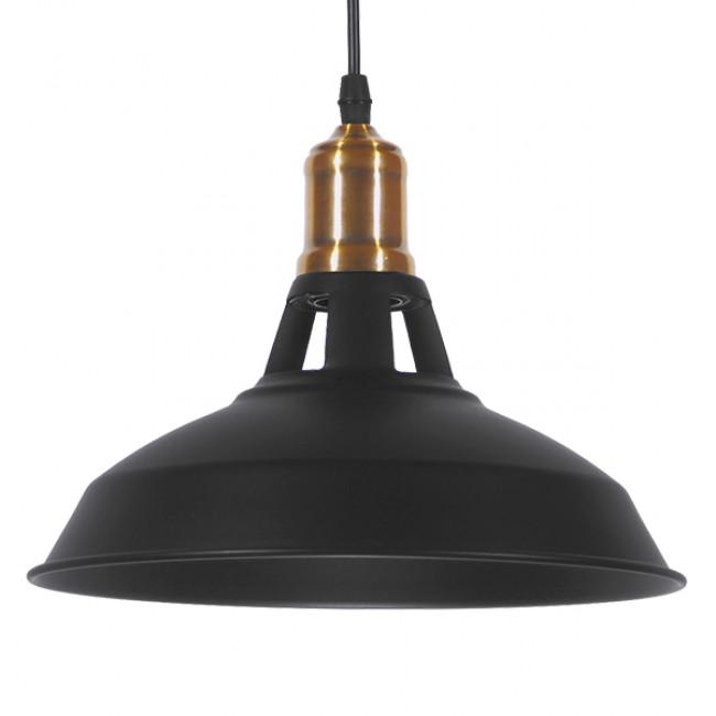 Vintage Industrial Κρεμαστό Φωτιστικό Οροφής Μονόφωτο Μαύρο Μεταλλικό Καμπάνα Φ28 GloboStar ANER BLACK 01073 - 1