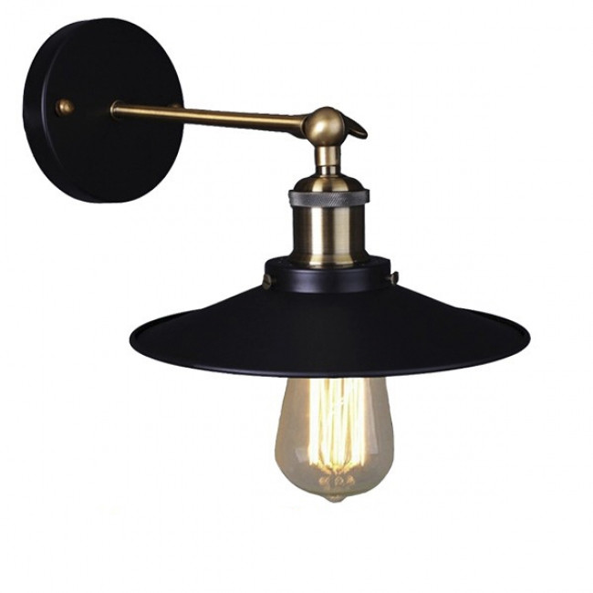 Vintage Industrial Φωτιστικό Τοίχου Απλίκα Μονόφωτο Μαύρο Μεταλλικό Καμπάνα Φ26 GloboStar MINIMALL 01039 - 1